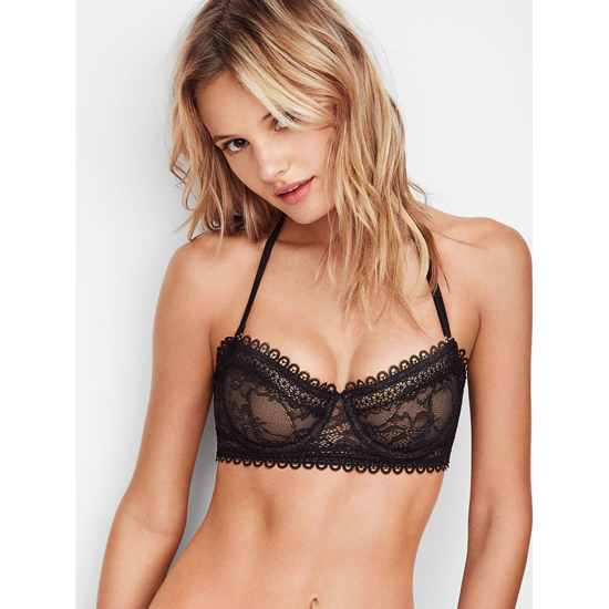 VICTORIA'S SECRET NEW! Lace & Mesh Unlined Strapless Bra Black Outlet Store