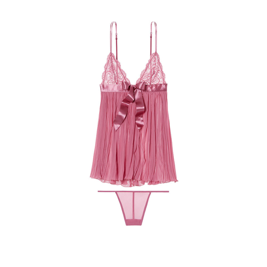 VICTORIA'S SECRET NEW! Pleated Babydoll Rosy Mauve Outlet Store