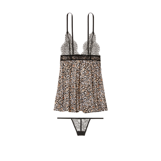 VICTORIA'S SECRET Satin & Lace Babydoll Play Nice Leopard Outlet Store