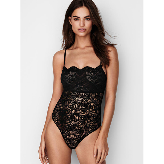 VICTORIA'S SECRET NEW! Scalloped Lace Bodysuit Black Outlet Store