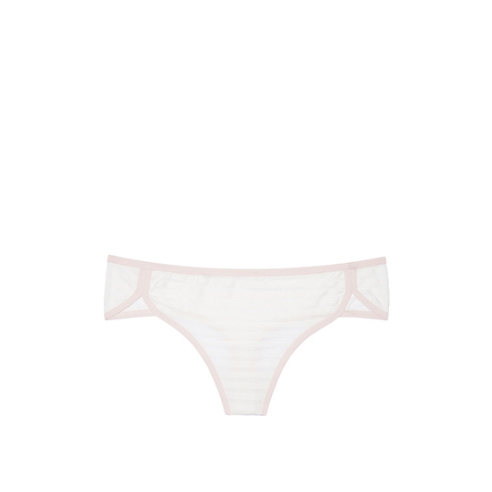 VICTORIA'S SECRET NEW! Curved-hem Thong Panty Coconut White Shadow Stripe Outlet Store