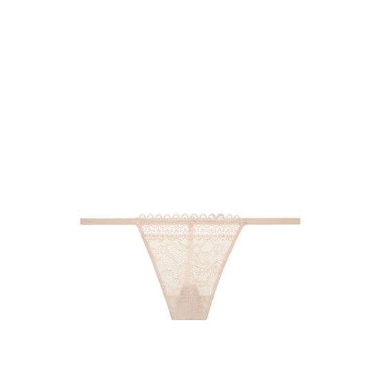 VICTORIA\'S SECRET NEW! Crochet trim and lace V-string panty Champagne Outlet Store