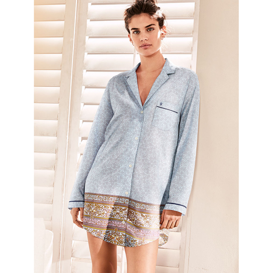 VICTORIA'S SECRET NEW! The Mayfair Sleepshirt Light Blue Placed Print Outlet Store