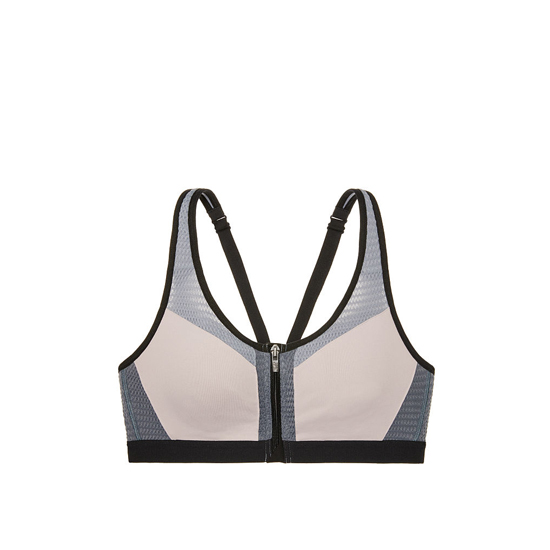 VICTORIA'S SECRET NEW! Knockout by Victoria Sport Front-Close Sport Bra Tinted Plum Mesh Curves Outlet Store
