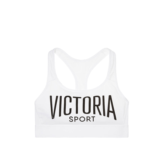 VICTORIA'S SECRET NEW! The Player by Victoria Sport Racerback Sport Bra White/Victoria Sport Logo/White Waistband Outlet Store